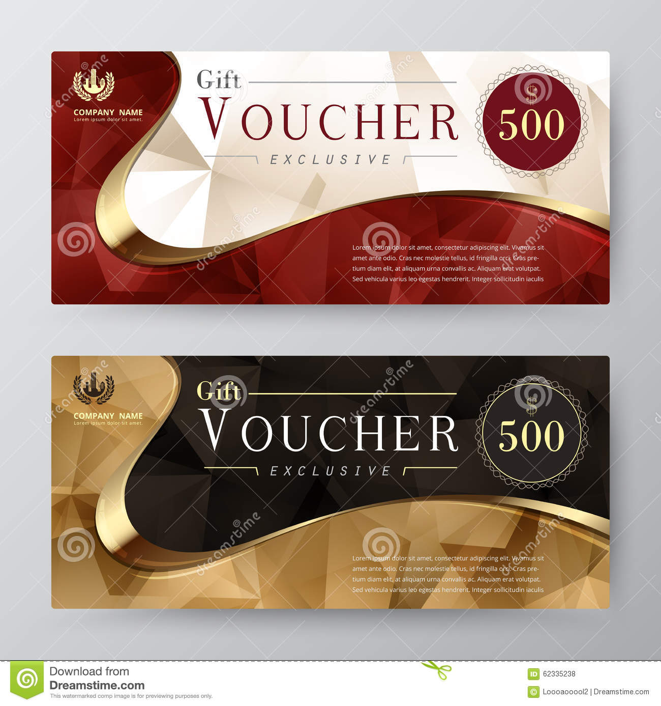 Gift Voucher Template Promotion Card Coupon Design Illustration