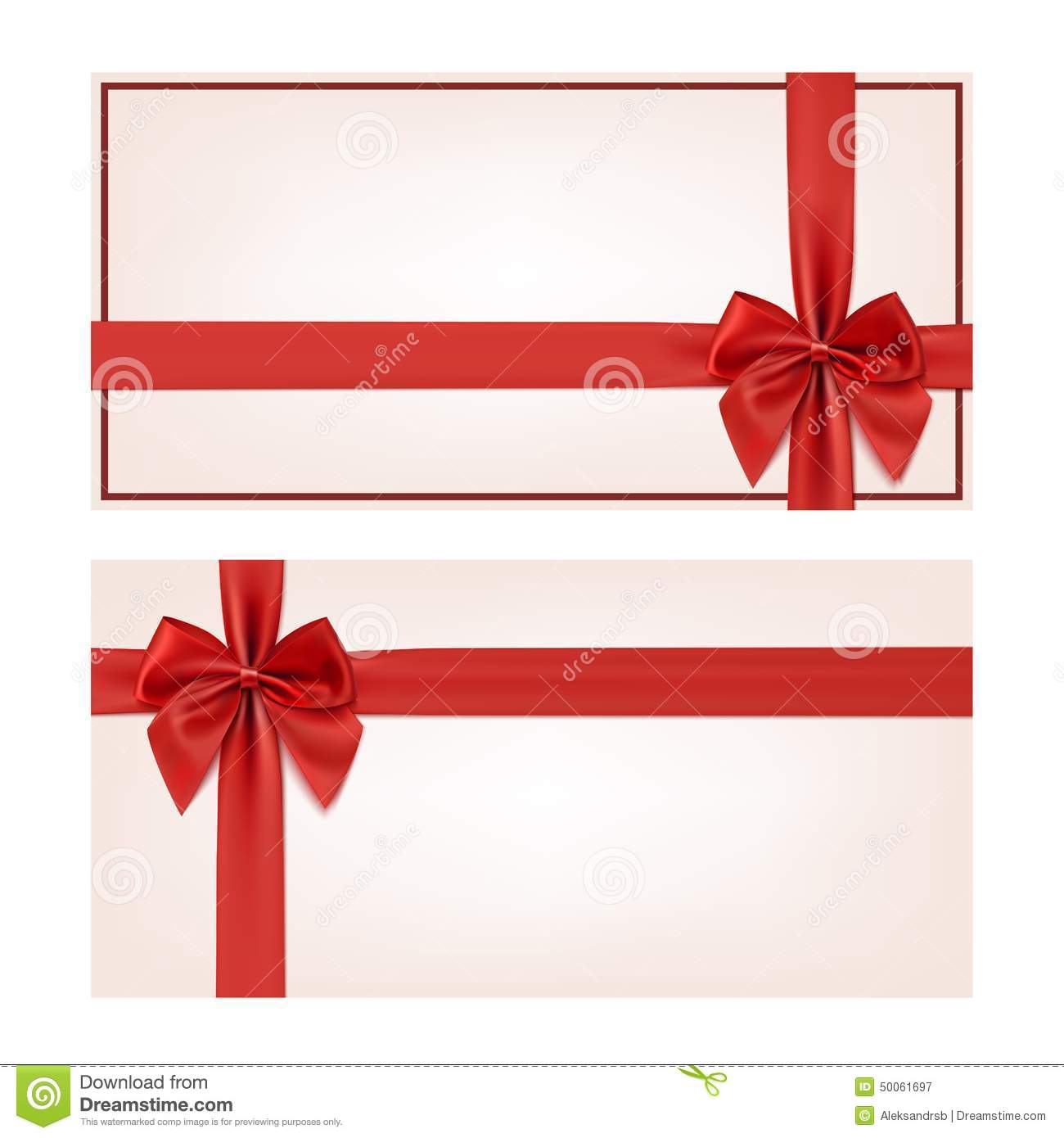 Gift Voucher Template With Red Ribbon And A Bow Stock