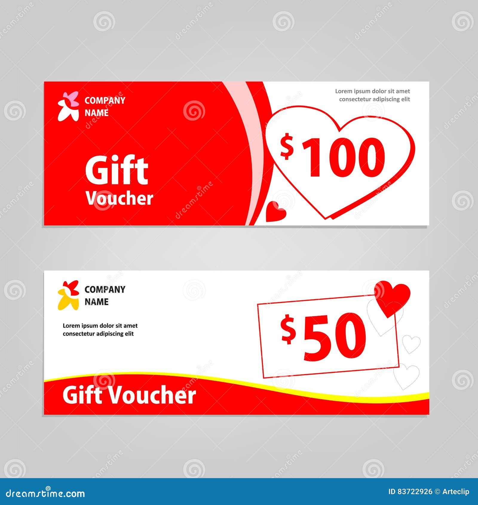 Gift Voucher Template For Valentine Promo Stock Illustration