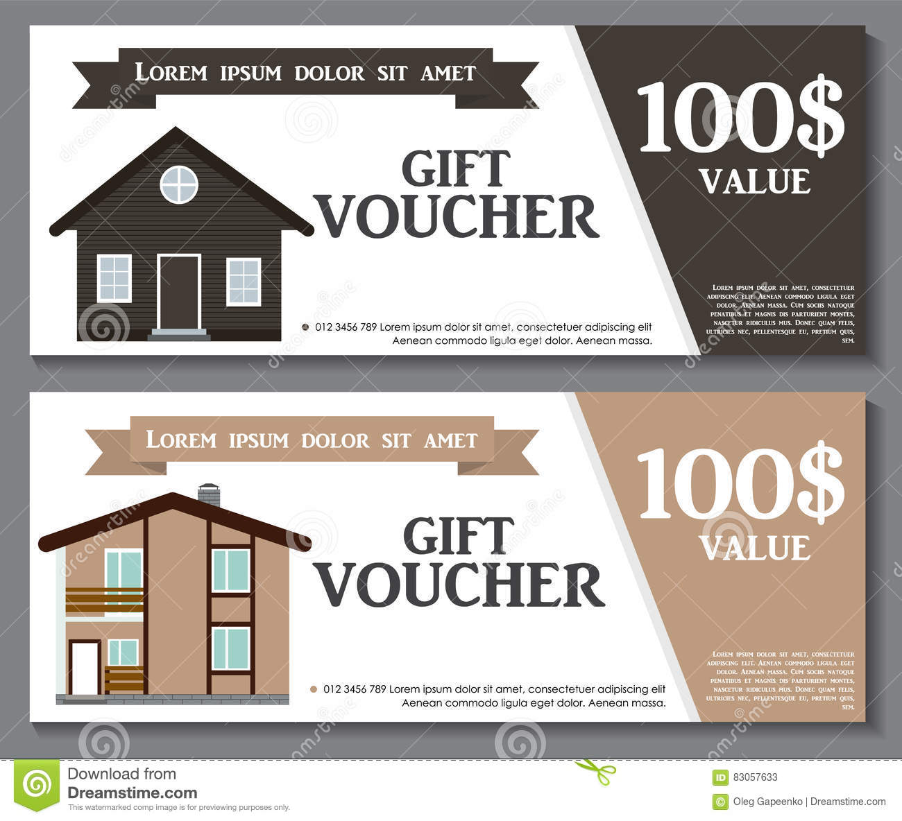 Gift Voucher Template With Variation Of House Discount Coupon Stock