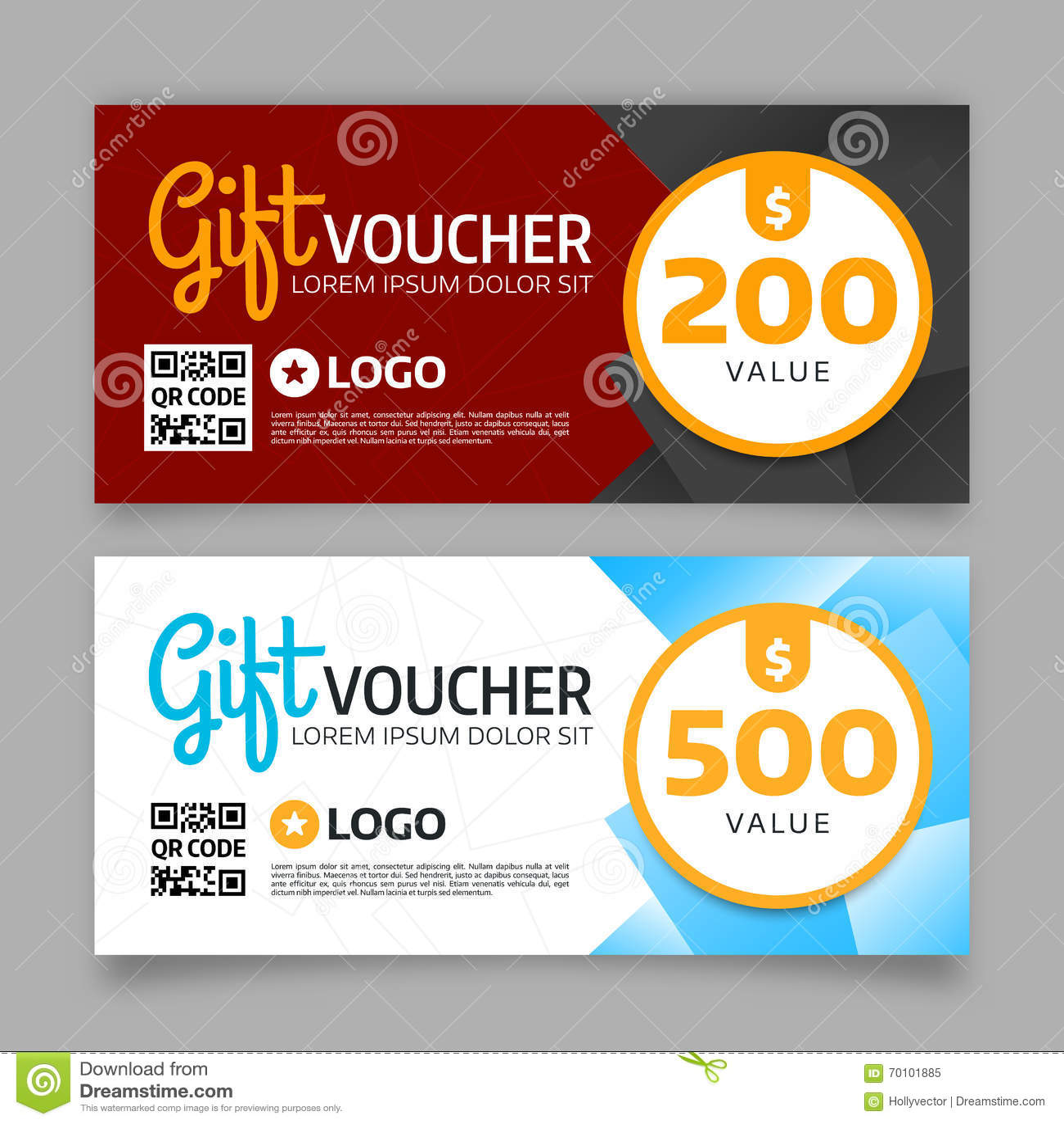 Gift Voucher Template Vector Graphic Design Stock Vector