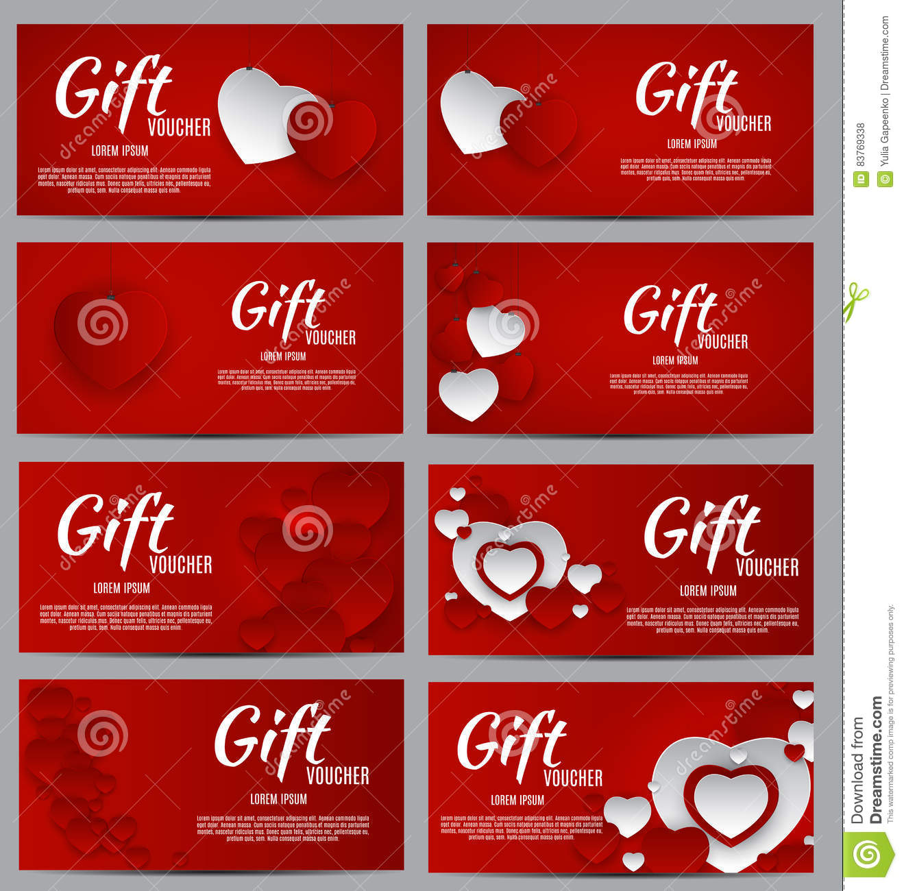 Gift Voucher Template For Your Business Valentine S Day Heart Stock