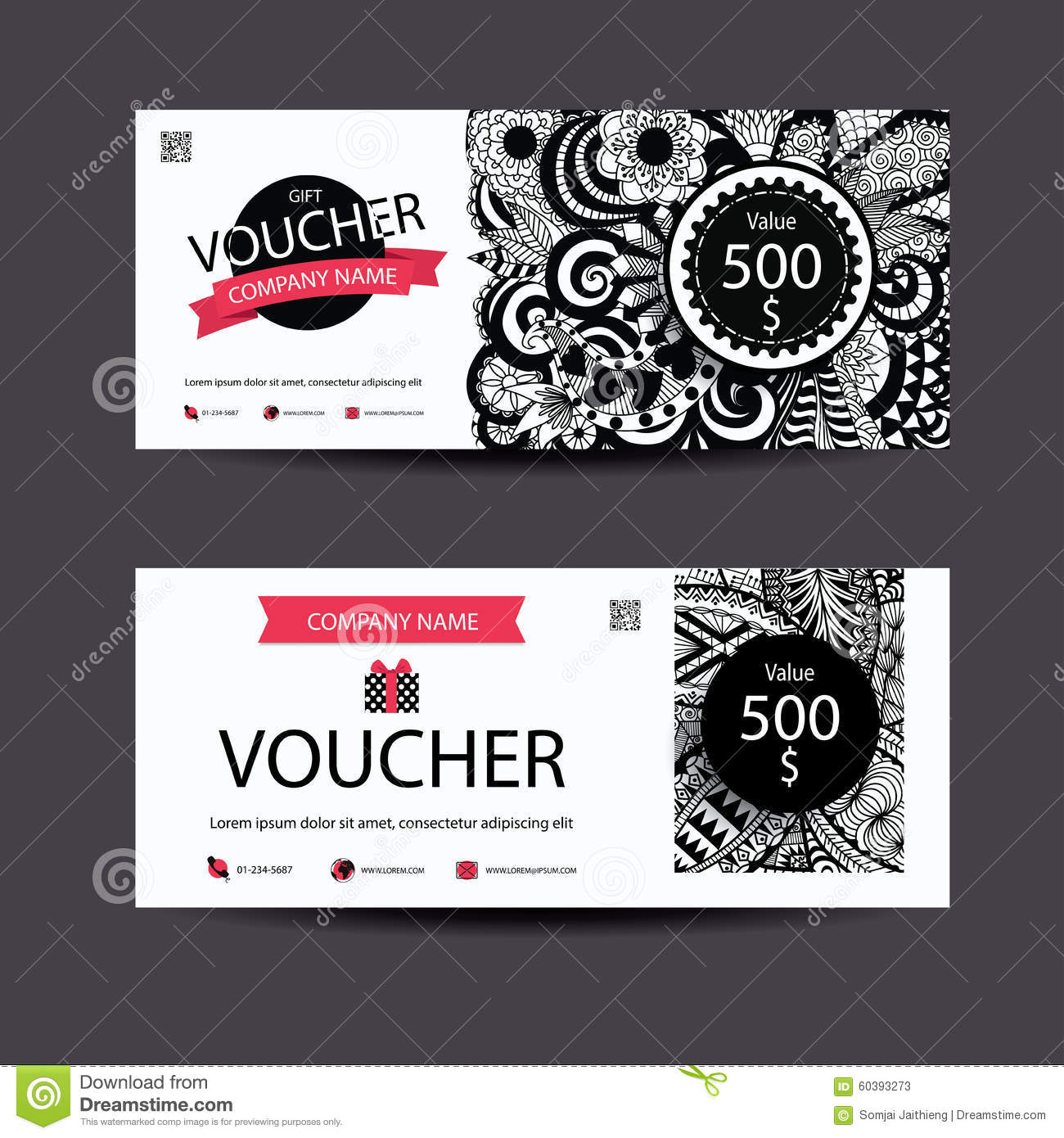 Gift voucher template zentangle style for spa,beauty,fashion business and so on.