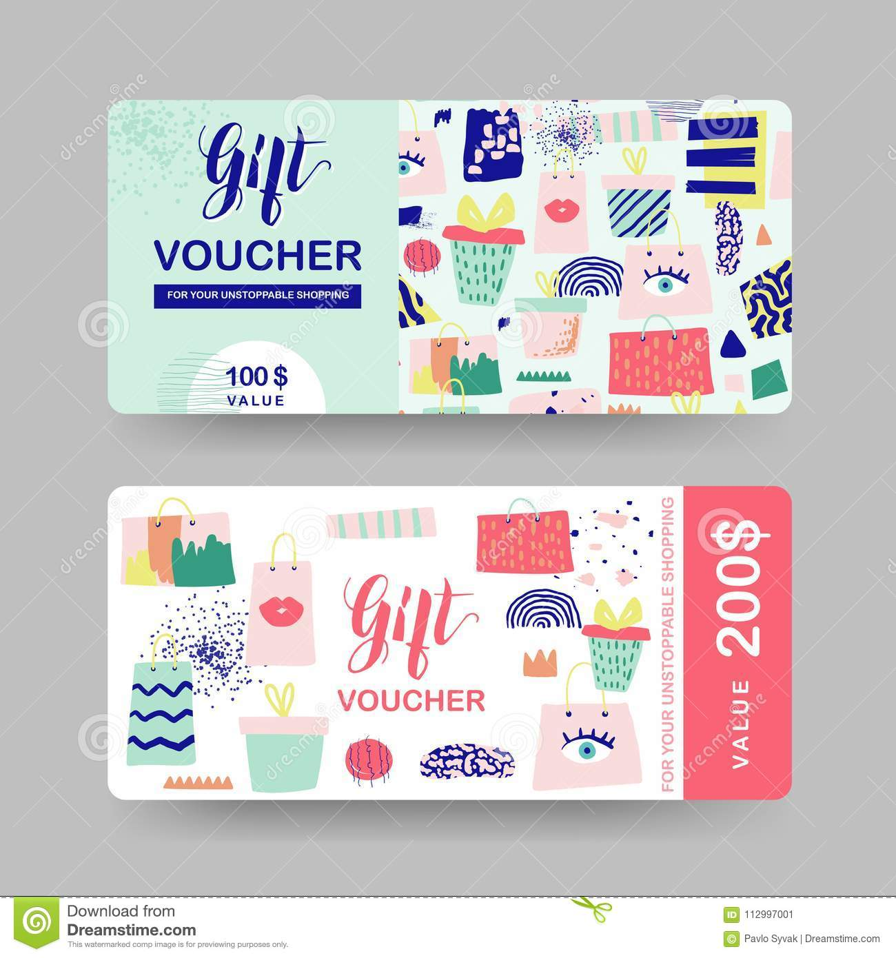 Gift Voucher Templates. Discount Coupon Certificate Card with Shopping Bags and Fashion Elements. Sale Promotion, Banner