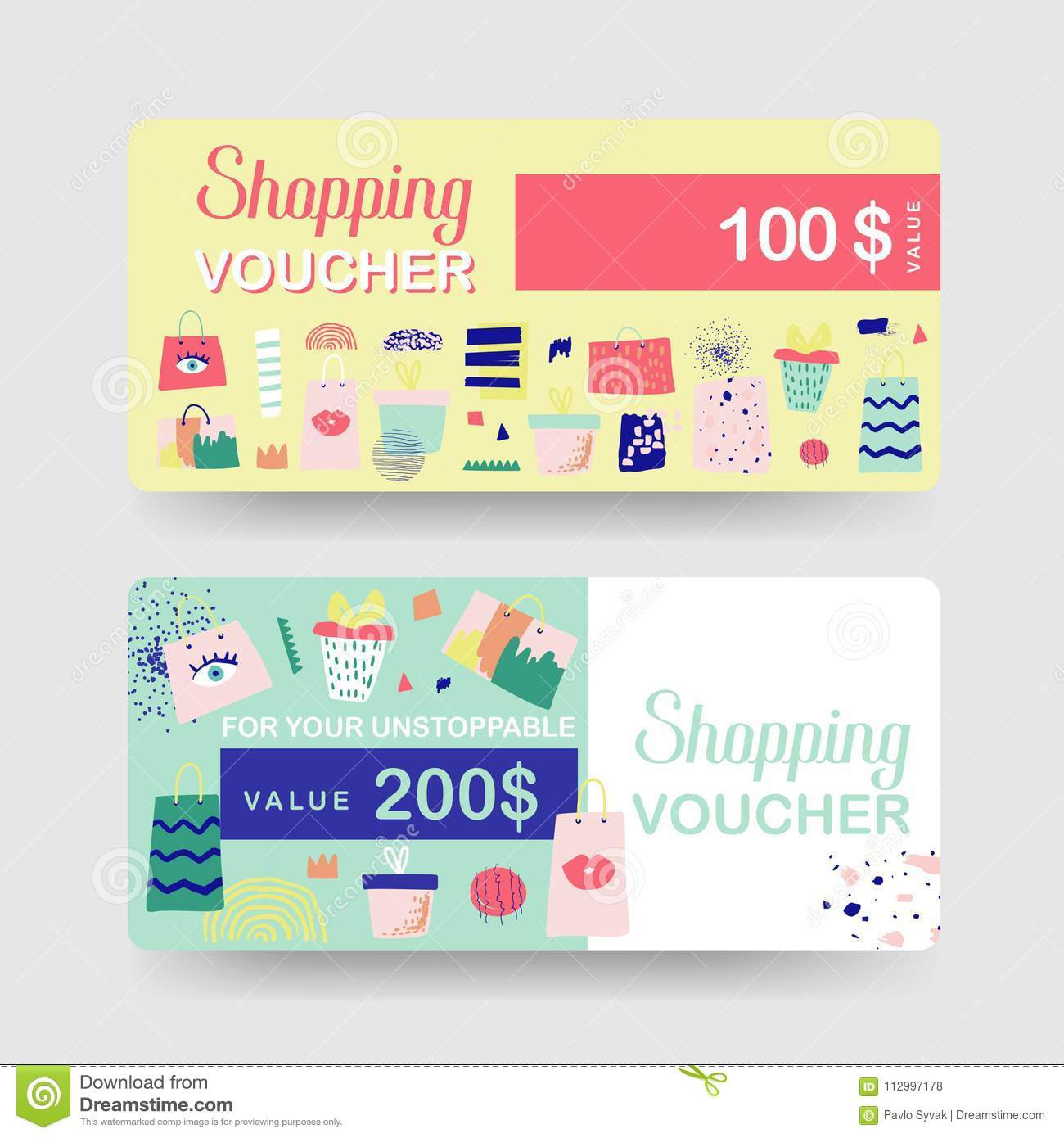 gift voucher templates discount coupon certificate card with