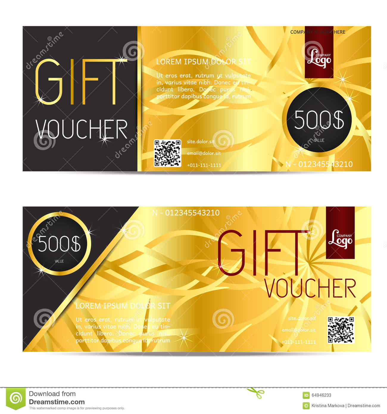Gift Voucher Vector Coupon Template For Company Corporate Style ...