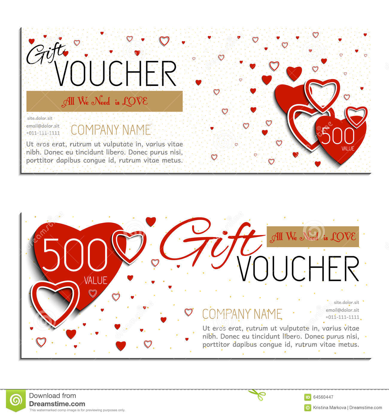 Gift Voucher Vector Coupon Valentine S Day Stock Vector