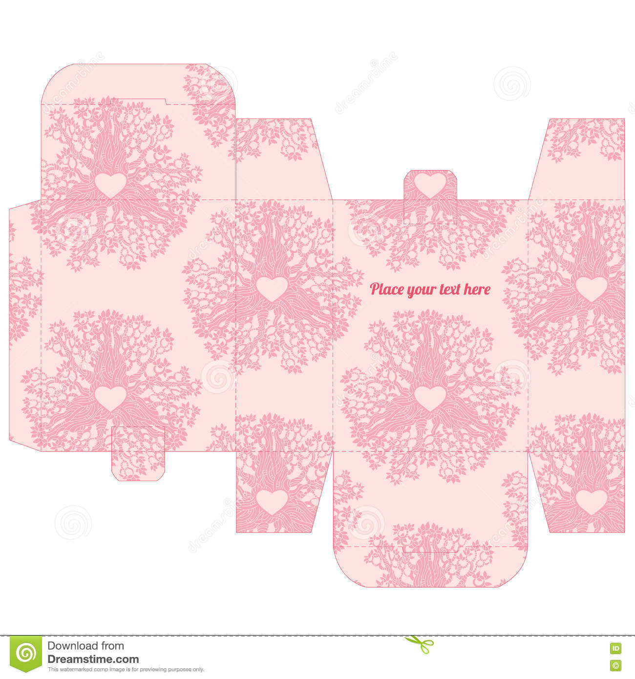 Wedding Gift Box Pattern : Gift Wedding Favor Box Template With Love Pattern Stock VectorImage ...