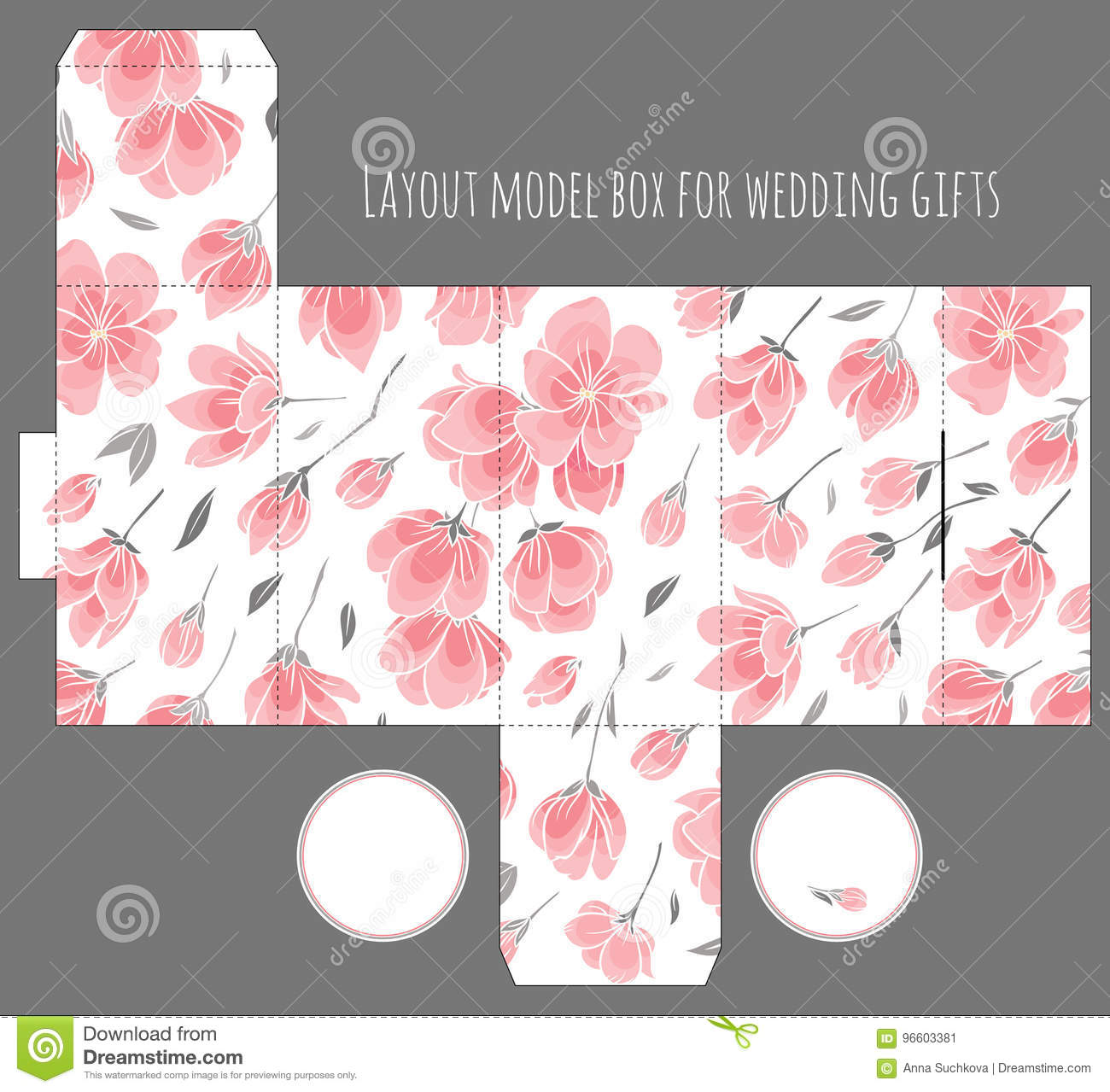 gift wedding favor box template with nature pattern stock vector