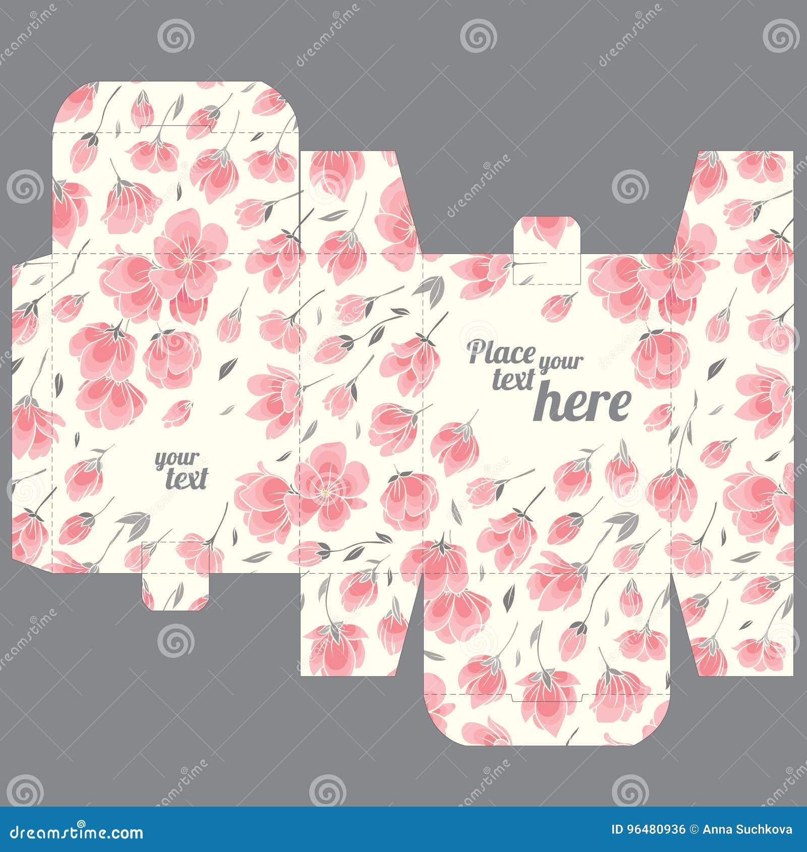 Gift Wedding Favor Die Box Design Template With Sakura Pattern Stock ...