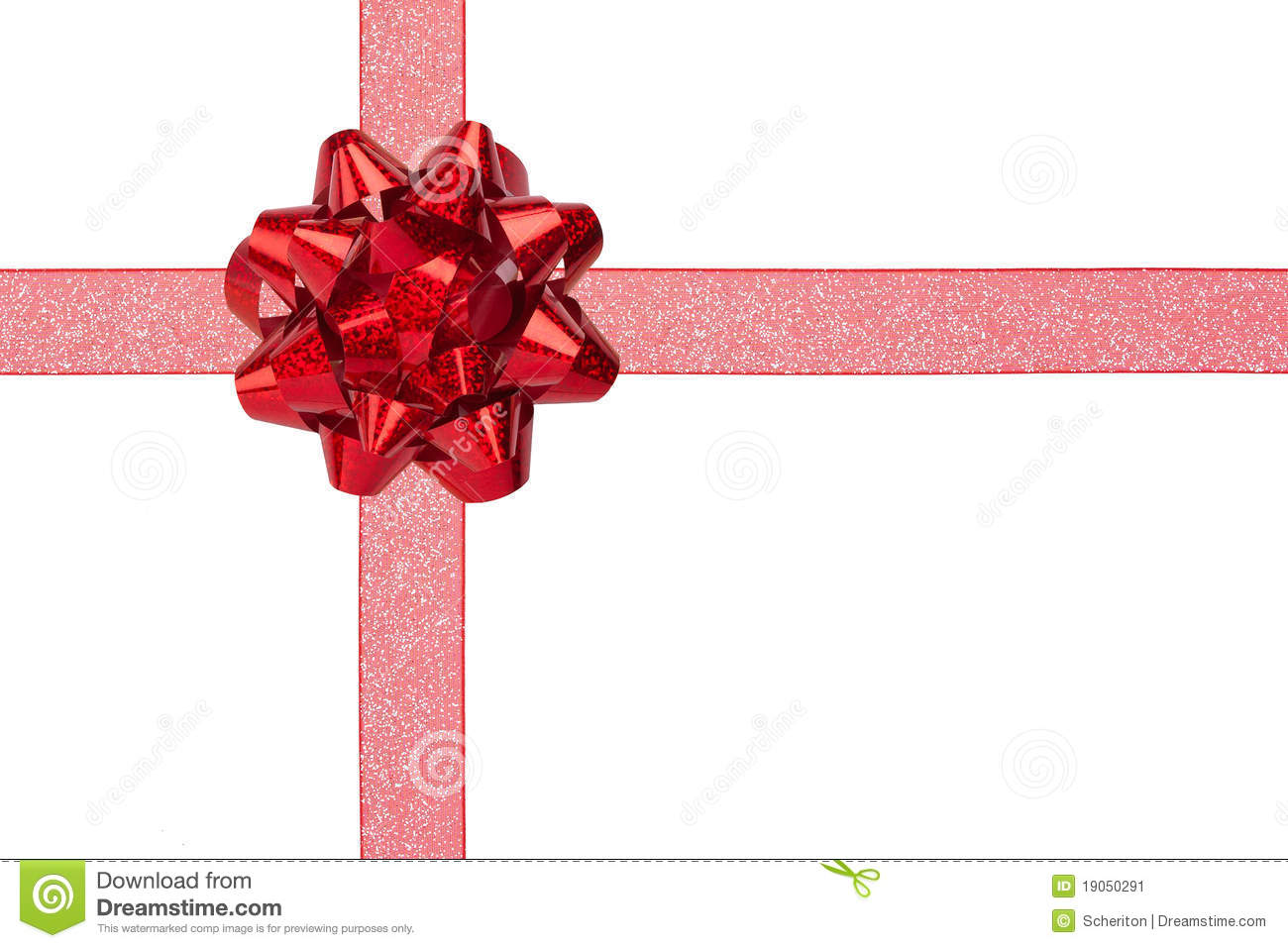 Gift Wrap With Red Sparkly Ribbon And Bow Stock Image