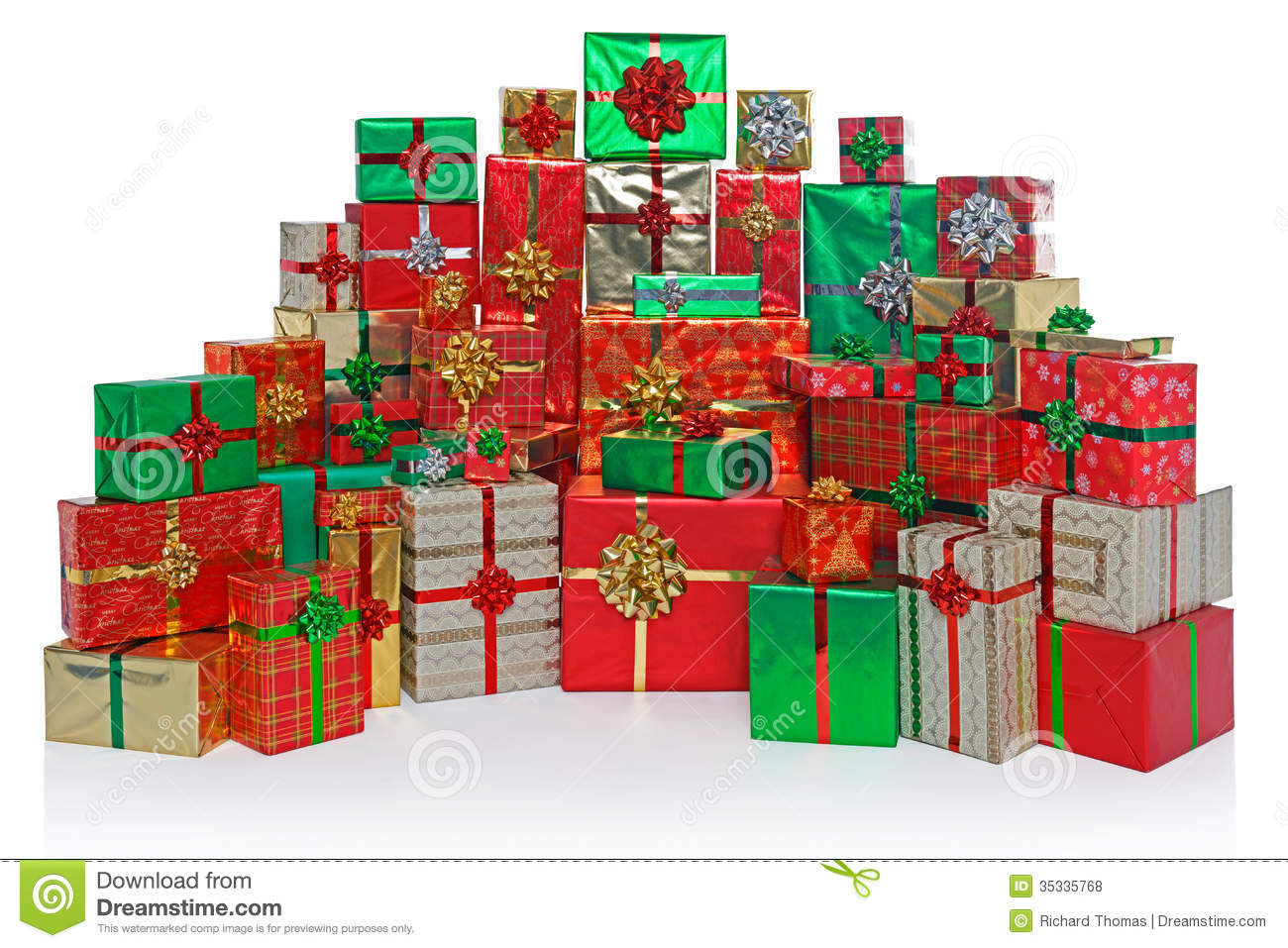Gift wrapped christmas presents isolated on white royalty free stock