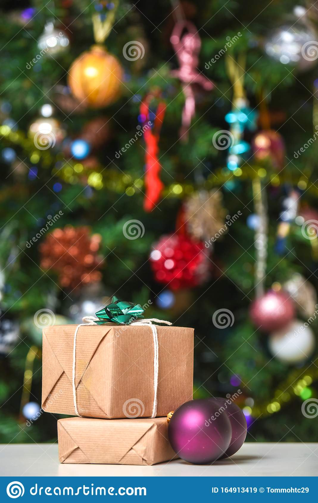 Gift Wrapped Christmas Presents Under The Decorated Christmas Tree In Cosy Family Home Interior Stock Image Image Of Decor Background 164913419