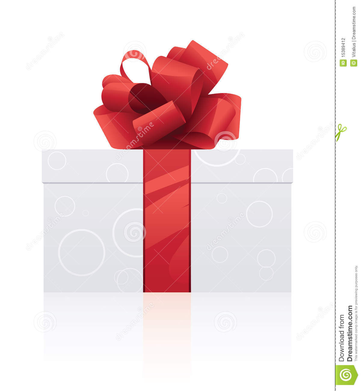 Side view of gift wrapped box shaped present with red ribbon and