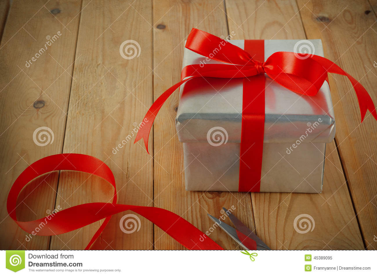 Gift Wrapped With Ribbon On Table Stock Image Image