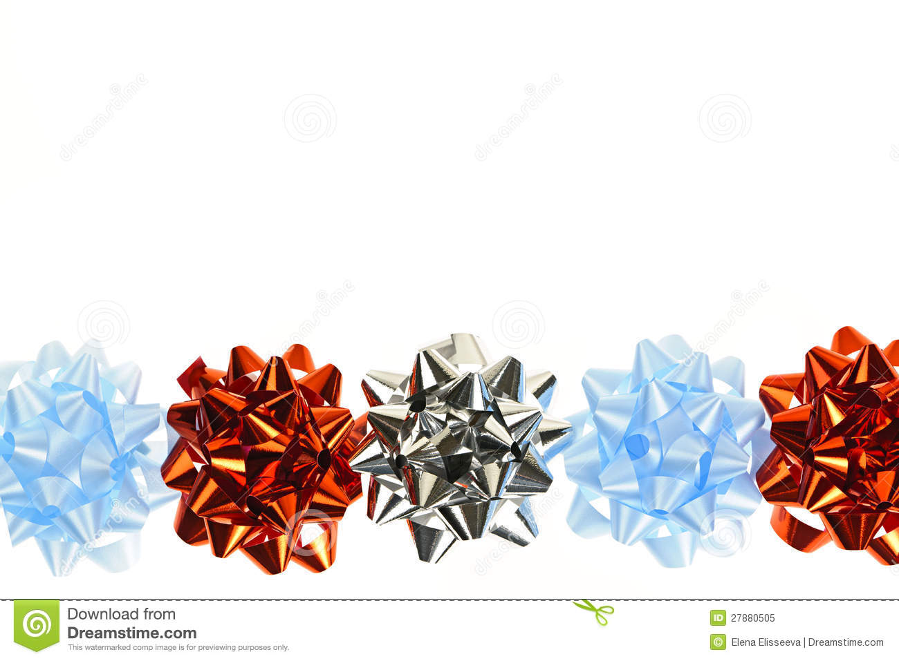 Red gift bows border with clipping path for easy background removing - Gift Wrapping Bows Border Royalty Free Stock Photo