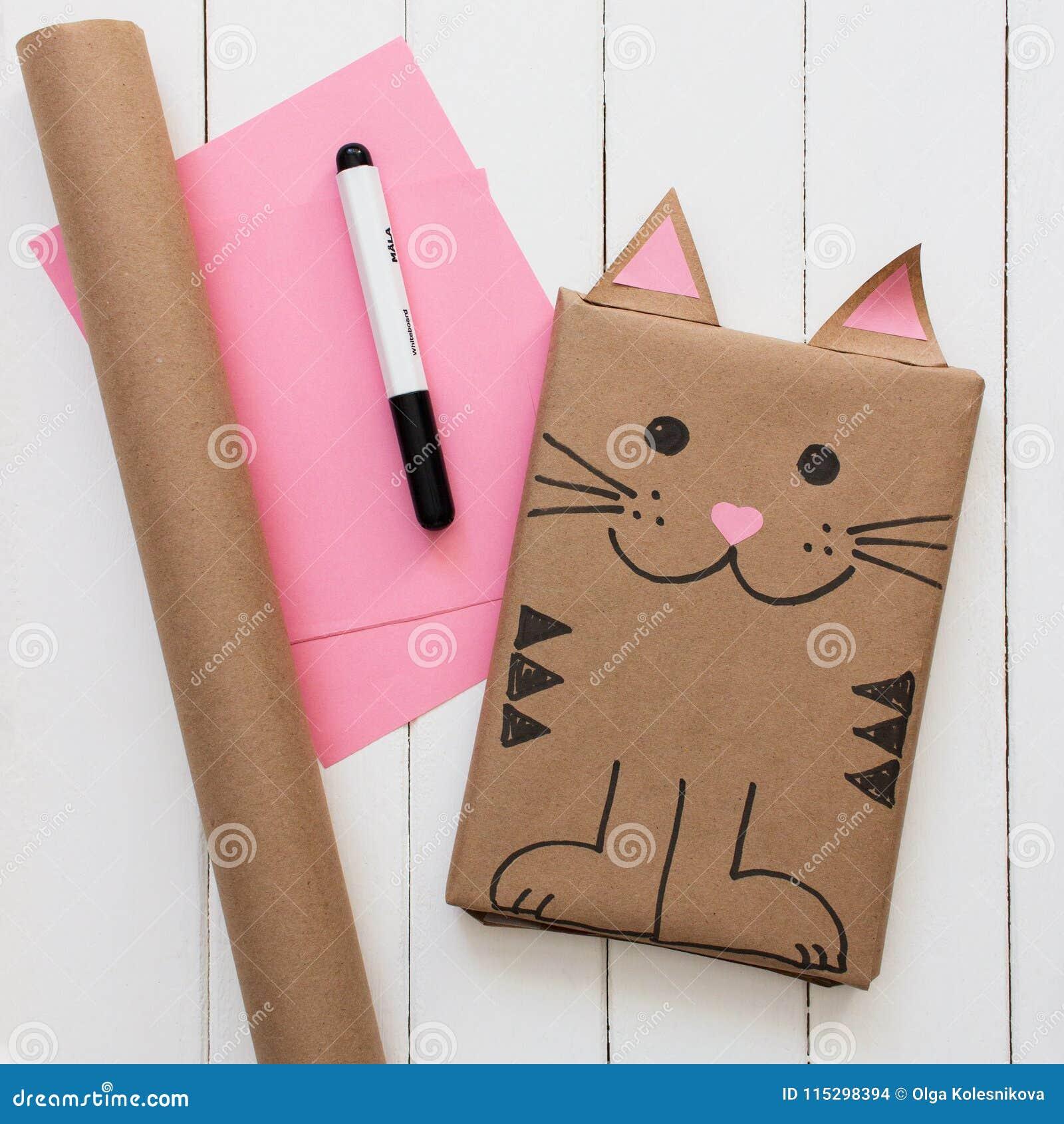 Gift Wrapped Idea Childrens Birthday Kraft Paper Box