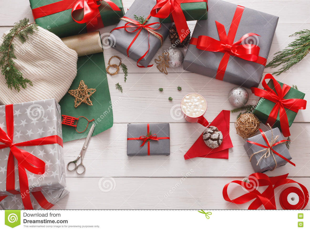 Gift Wrapping Packaging Modern Christmas Present In Boxes