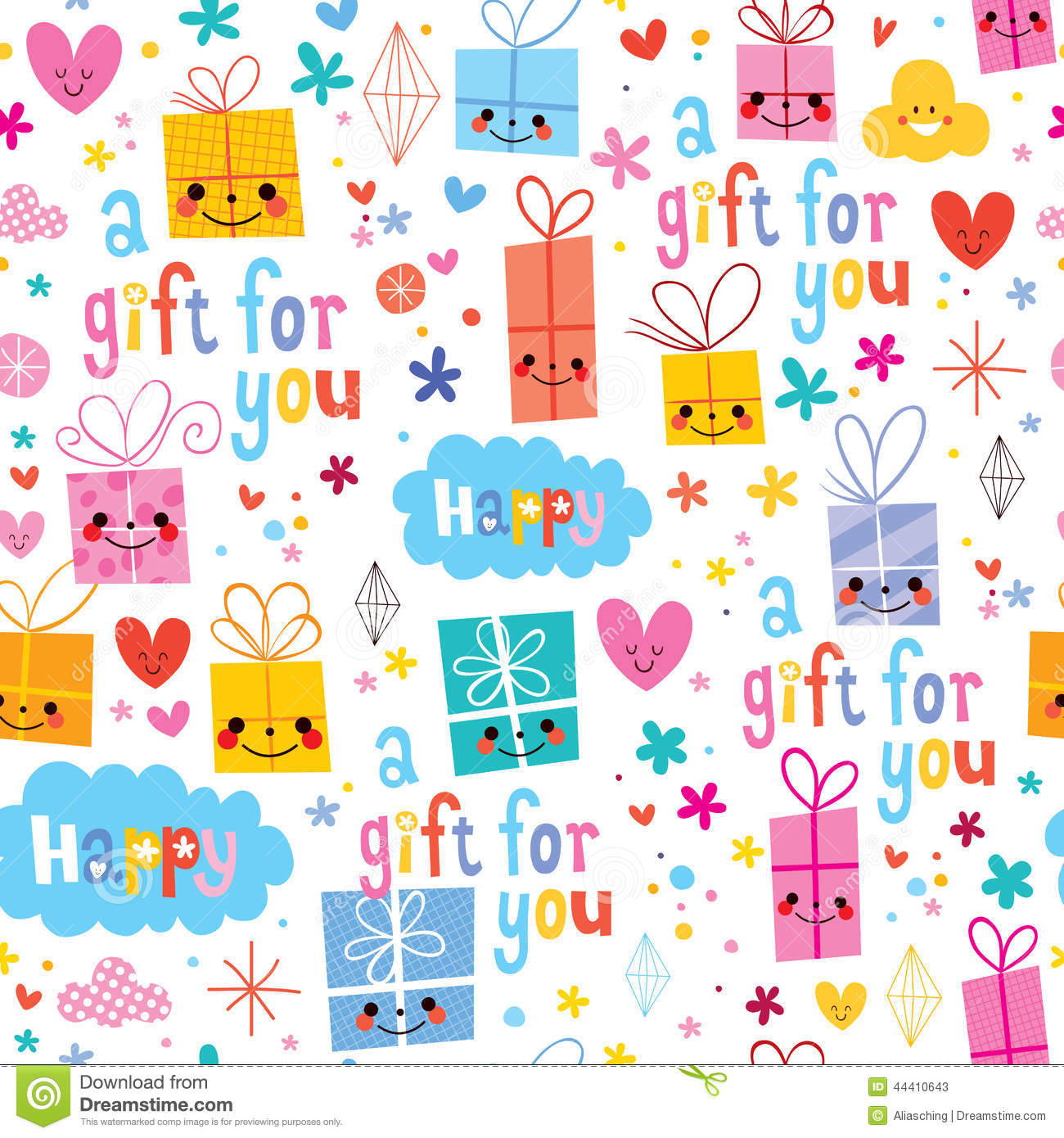 gift wrapping paper cartoon seamless pattern stock vector