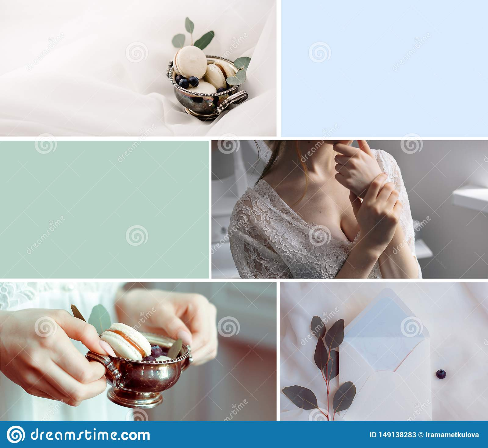 Gifta sig collage f?r pastellf?rgad f?rg med bruden och dekoren