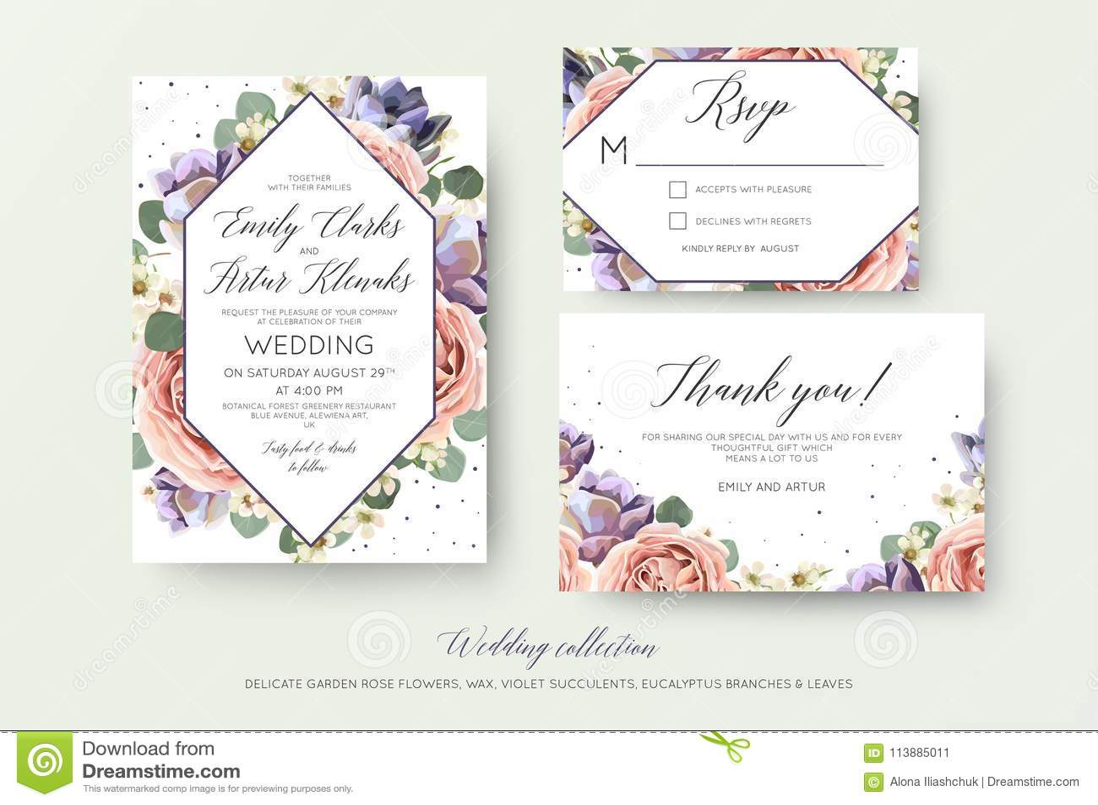Gifta sig den blom- inbjudan, rsvp, tacka dig att card elegant botanica