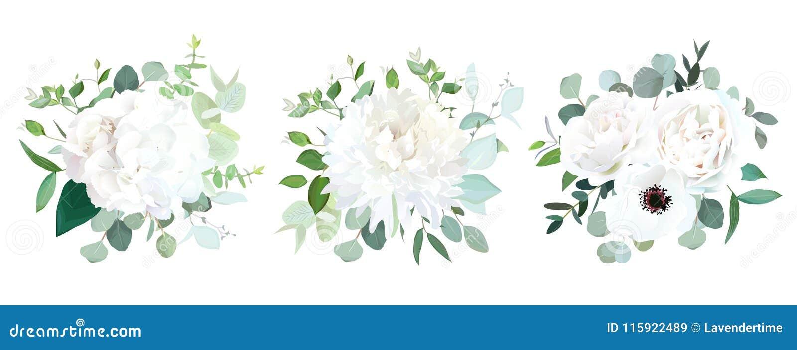 Gifta sig för vektordesign för vita blommor buketter