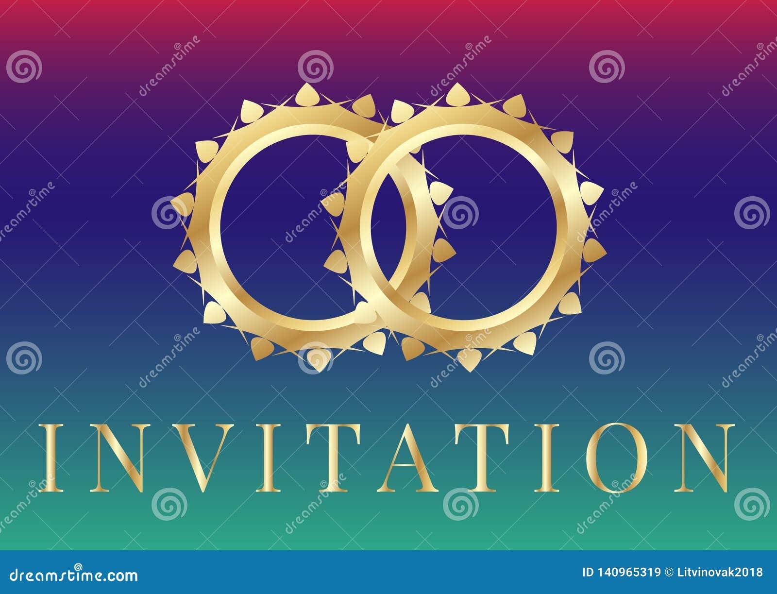Gifta sig inbjudankortmallar med guldbröllopcirklar på regnbågsskimrande bakgrund