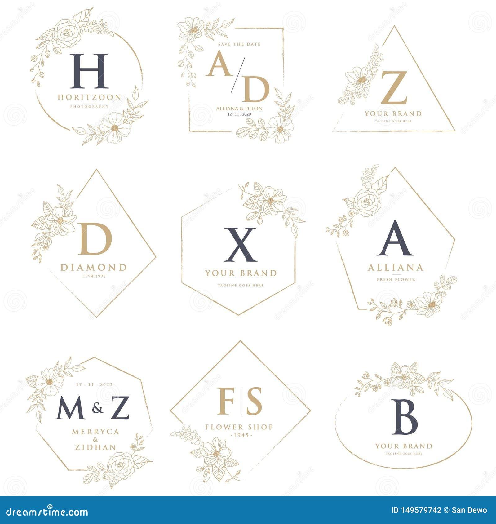 Gifta sig logoer med blom- garneringar