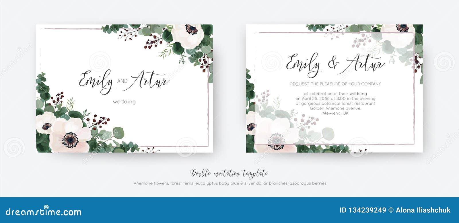 Gifta sig vektorn invitera, den blom- designen för det dubbla inbjudankortet Ljust - rosa anemonblommor, grönskaeukalyptusfiliale