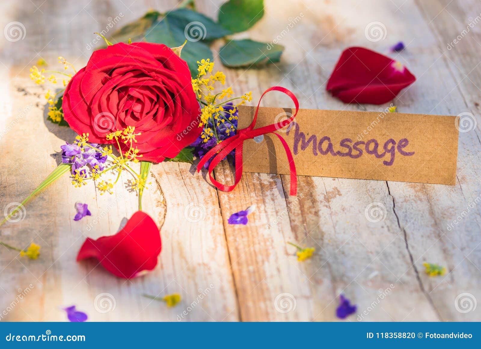 Giftkaart, bon of coupon voor Massage met bloemen voor Moeders of Valentijnskaartendag