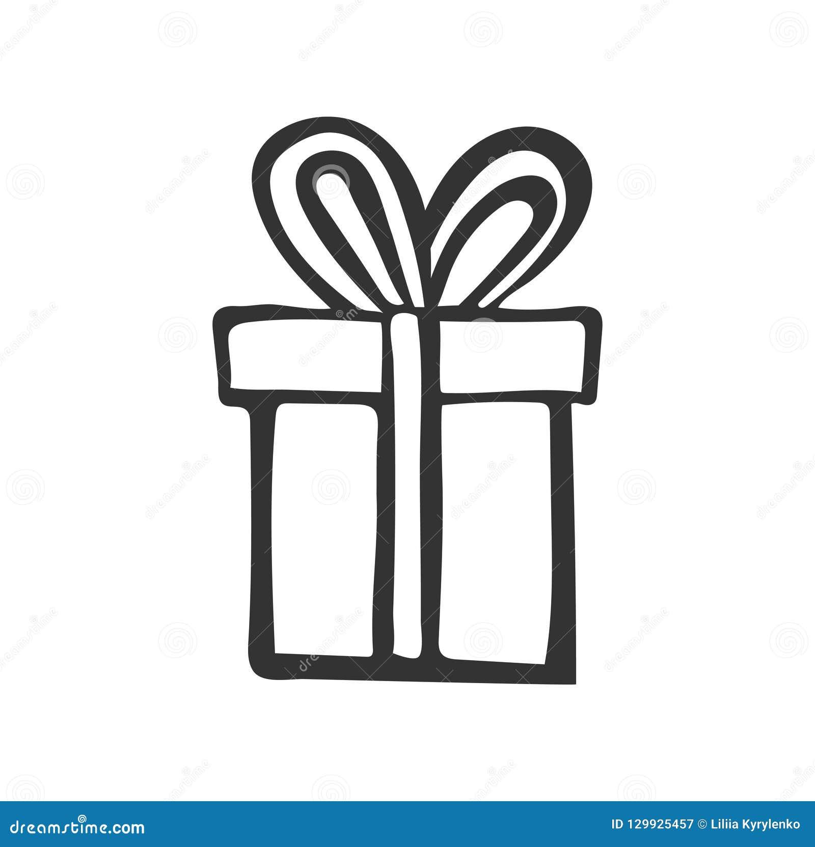 Giftpictogram Eenvoudige huidige doos met lint De tekening van de hand De zwarte inkt van de krabbelstijl