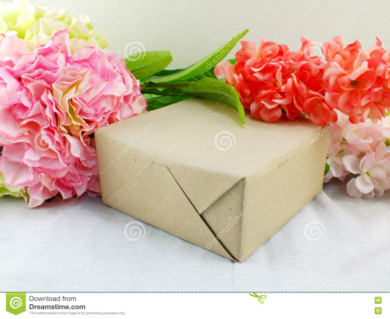 Gifts And Beautiful Bouquet Of Flowers For Mother's Day