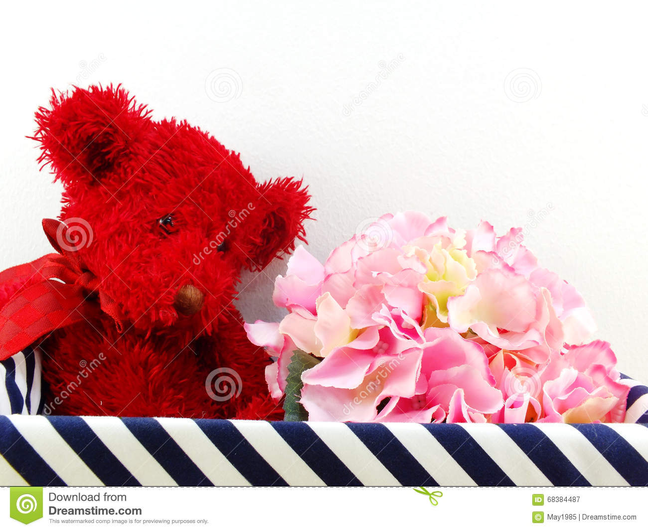 Gifts And Beautiful Bouquet Of Flowers With Red Teddy Bear For