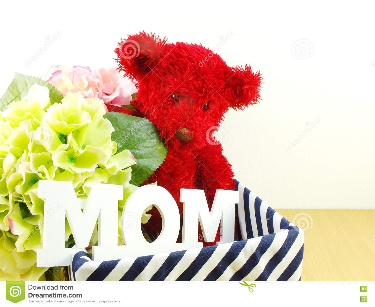 Gifts And Beautiful Bouquet Of Flowers With Red Teddy Bear Stock