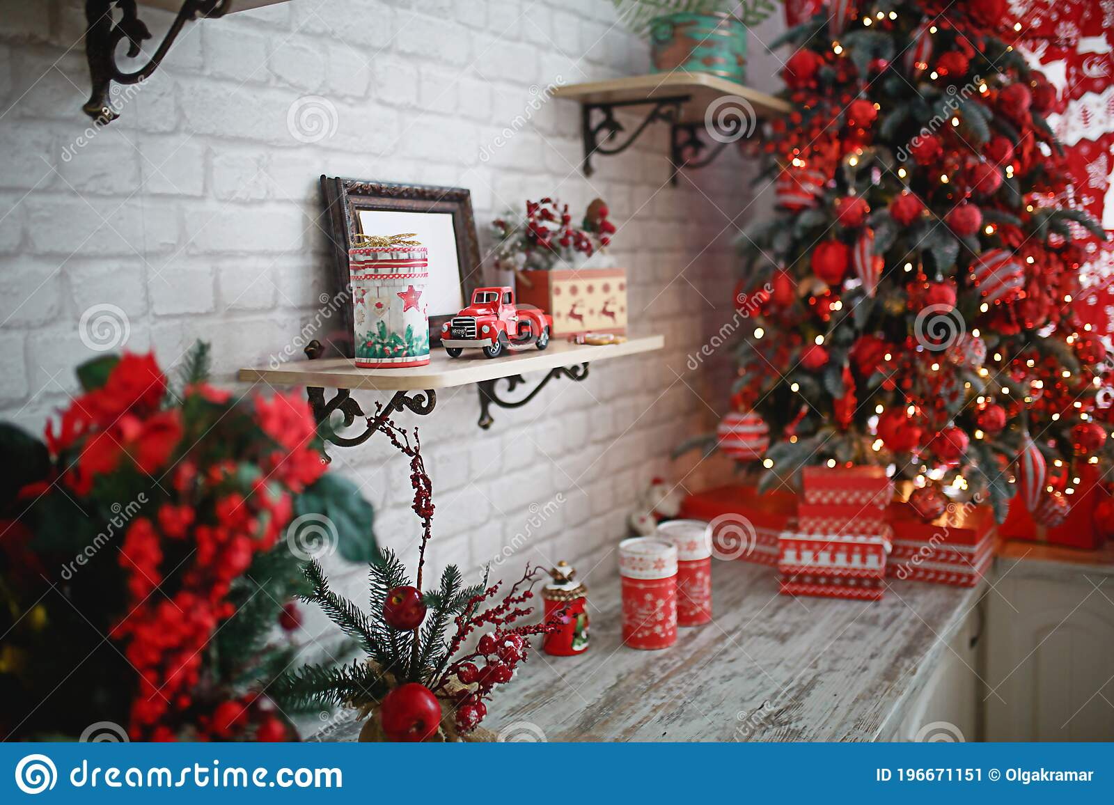 Gifts In Boxes Close Up Under A Christmas Tree With Red And White Decor In A White Living Room New Year European Style Kitchen Stock Image Image Of Home January 196671151