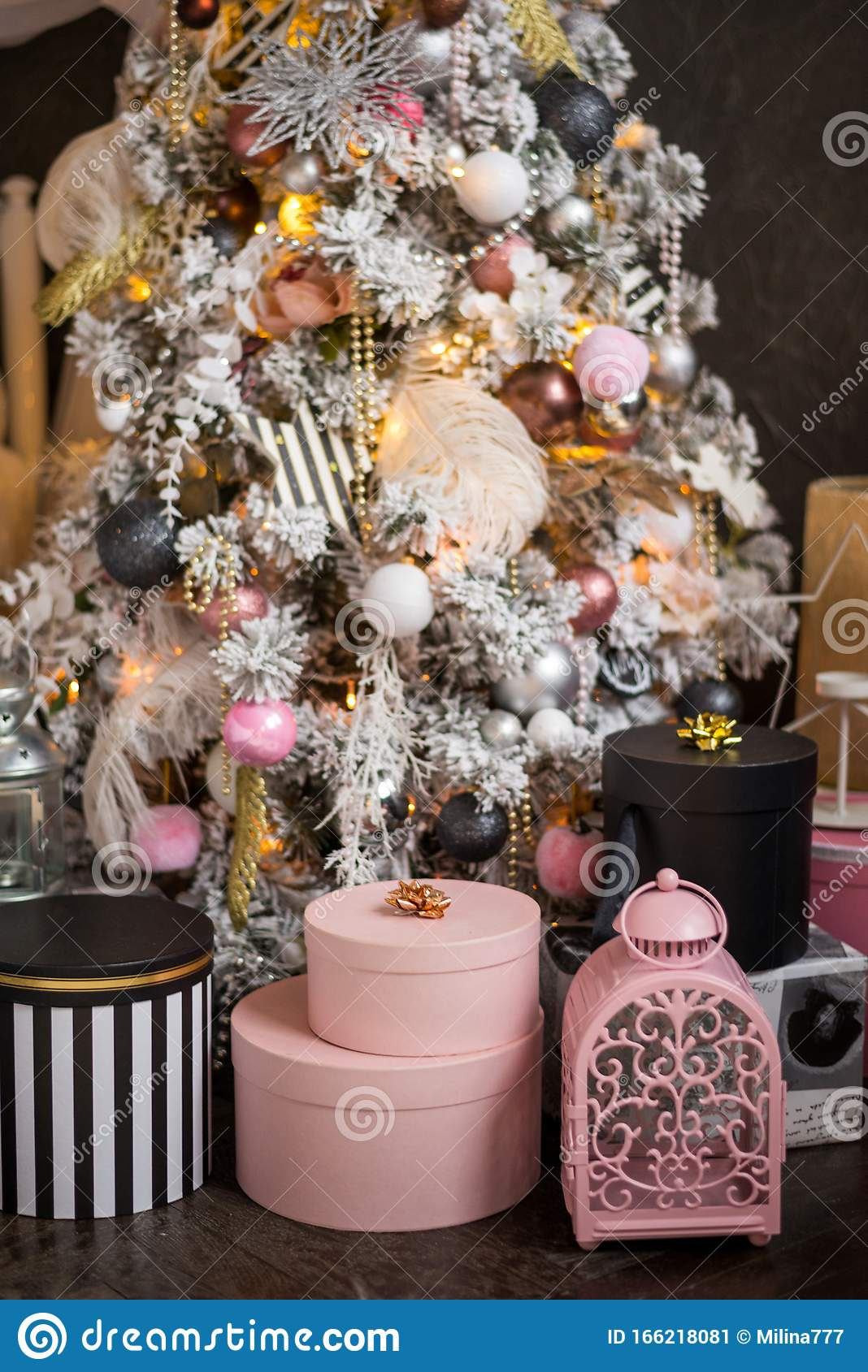 Gifts Boxes Round Pink White Striped Under Christmas Tree With Christmas Decorations Stock Image Image Of Greeting Paper 166218081
