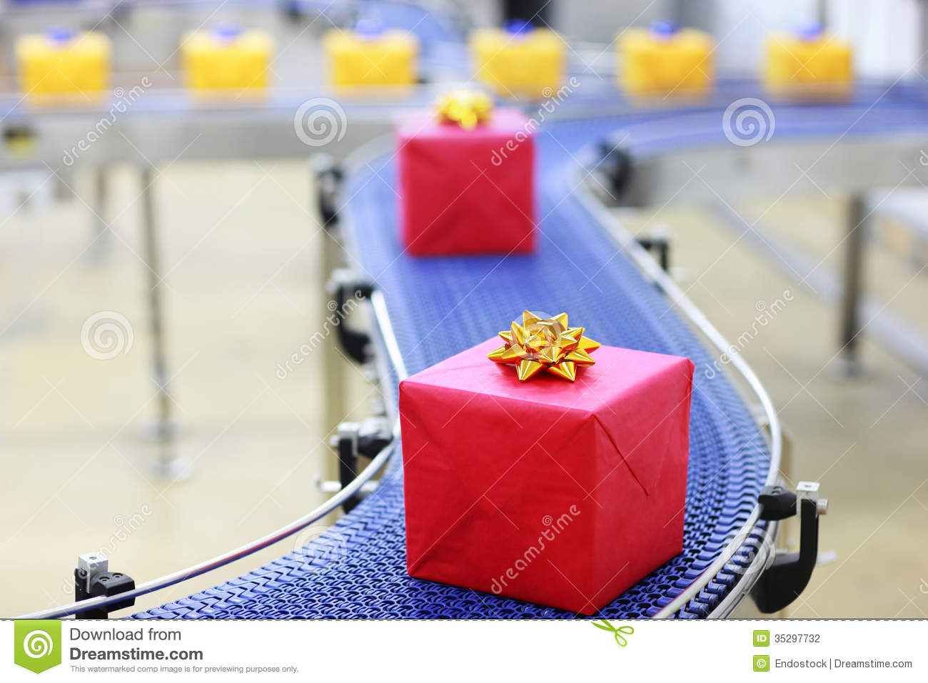 Gifts On Conveyor Belt In Christmas Presents Facto Stock ...