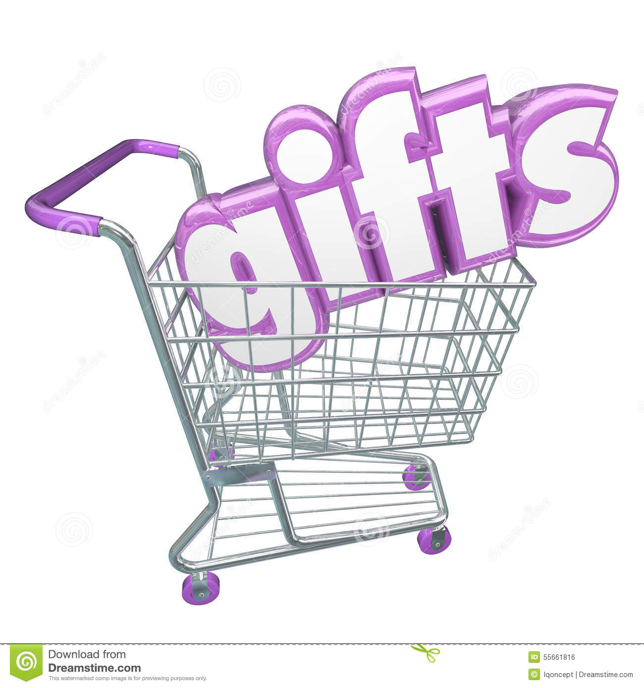 gifts shopping cart 3d word buying products store customer stock