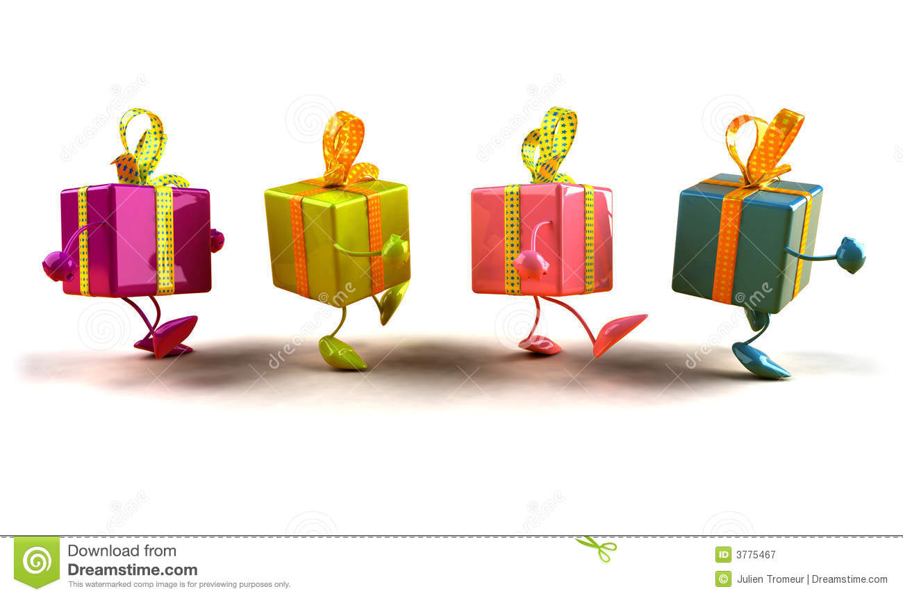 Gifts Walking Royalty Free Stock Photography Image 3775467