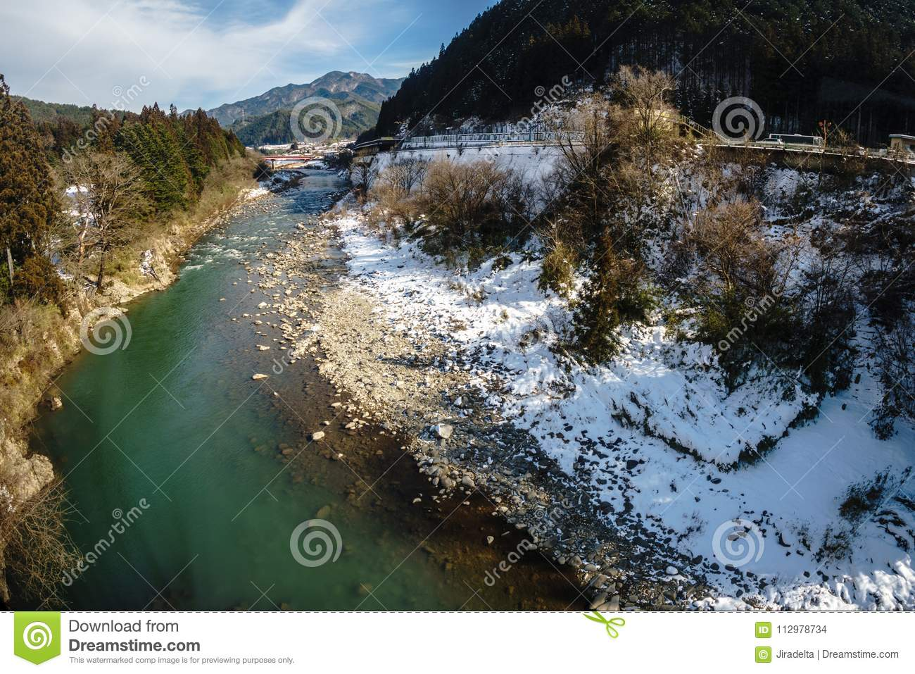 Green River with Snow in Winter