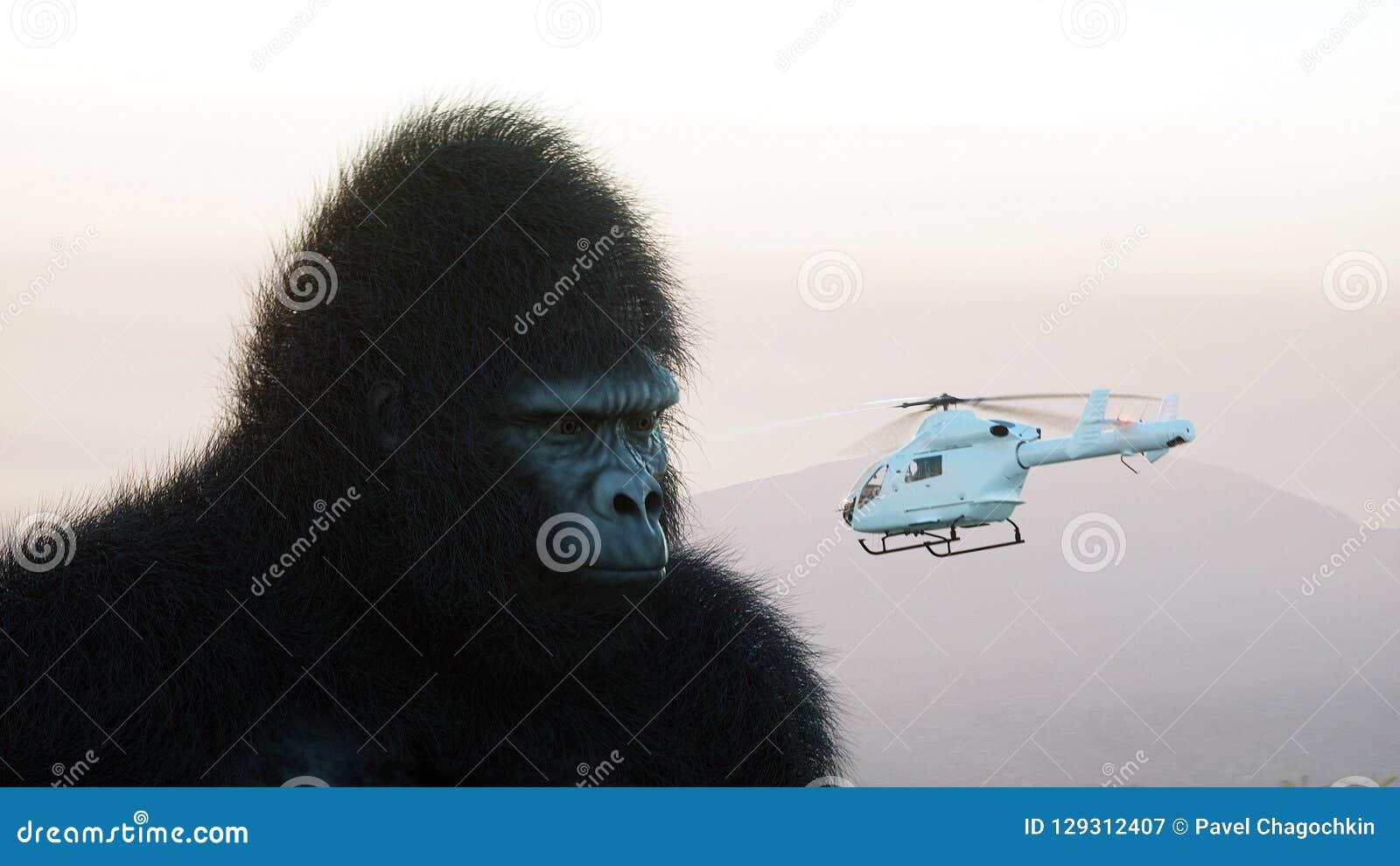 Gigantyczny goryl i helikopter w dżungli Prehistoryczny zwierzę i potwór Realistyczny futerko świadczenia 3 d
