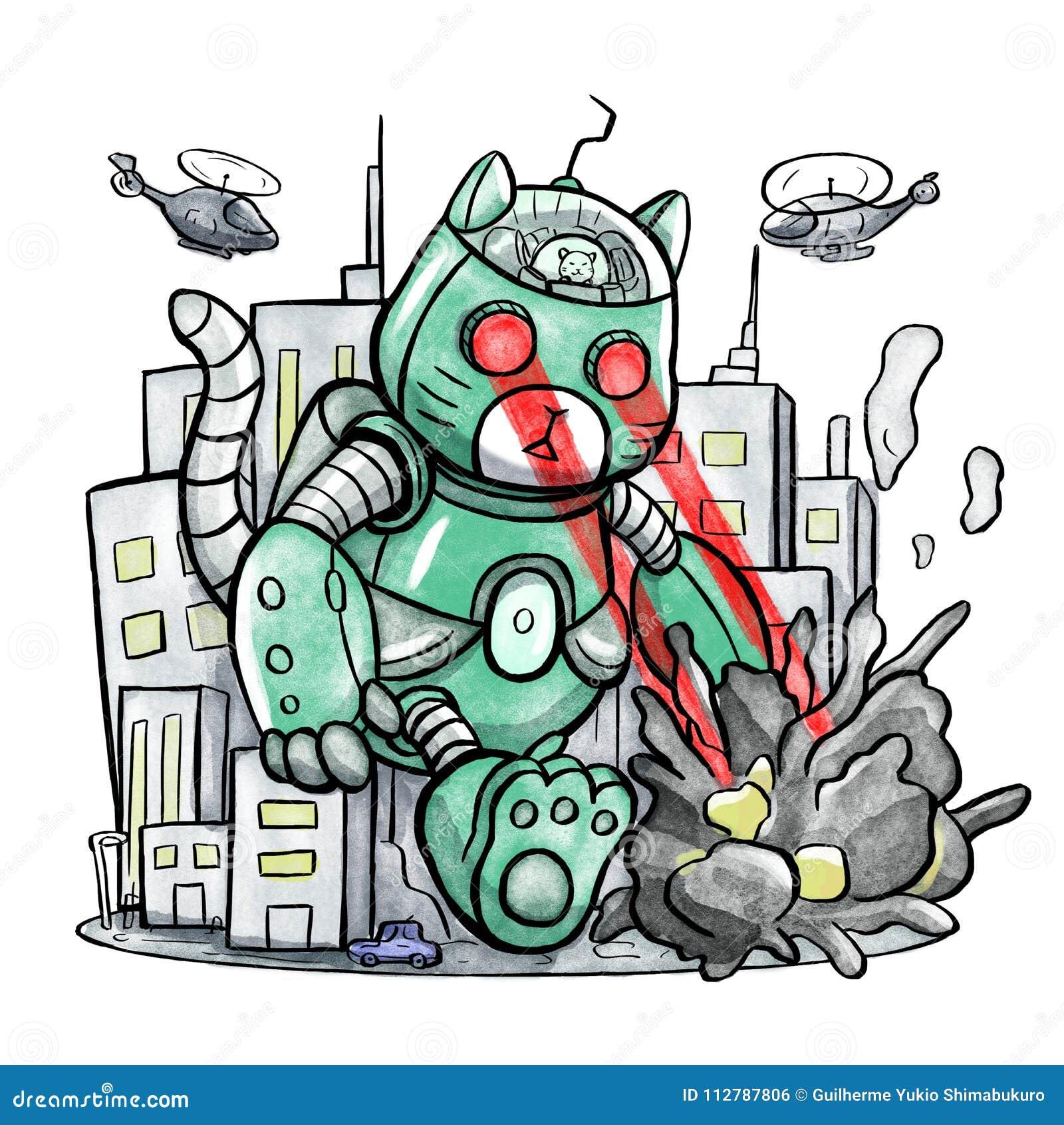 Gigantyczny robota kot Niszczy miasto