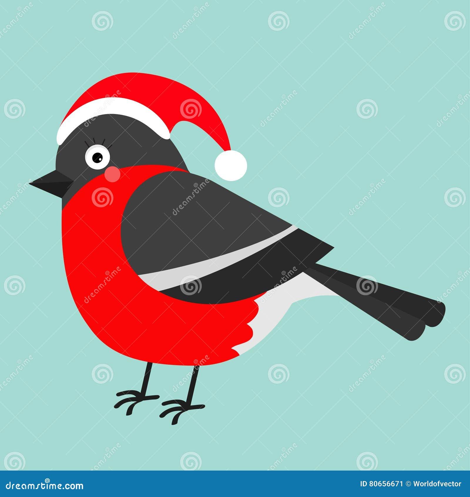Gil Zimy Czerwieni Piórka Ptak Santa Kapelusz ślicznej Kreskówki