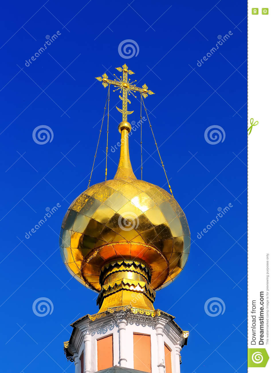 Gilded dome and cross of Russian Orthodox Church