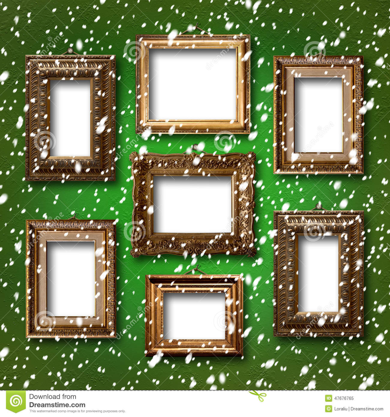 Gilded wooden frames for pictures on abstract background