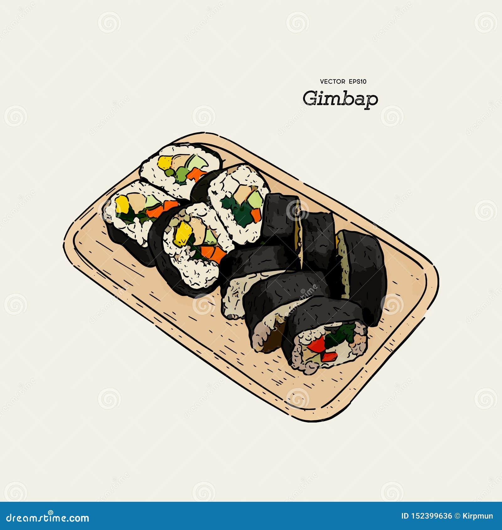 Gimbap tradicional coreano del plato Sushi coreano Ilustraci?n drenada mano del vector