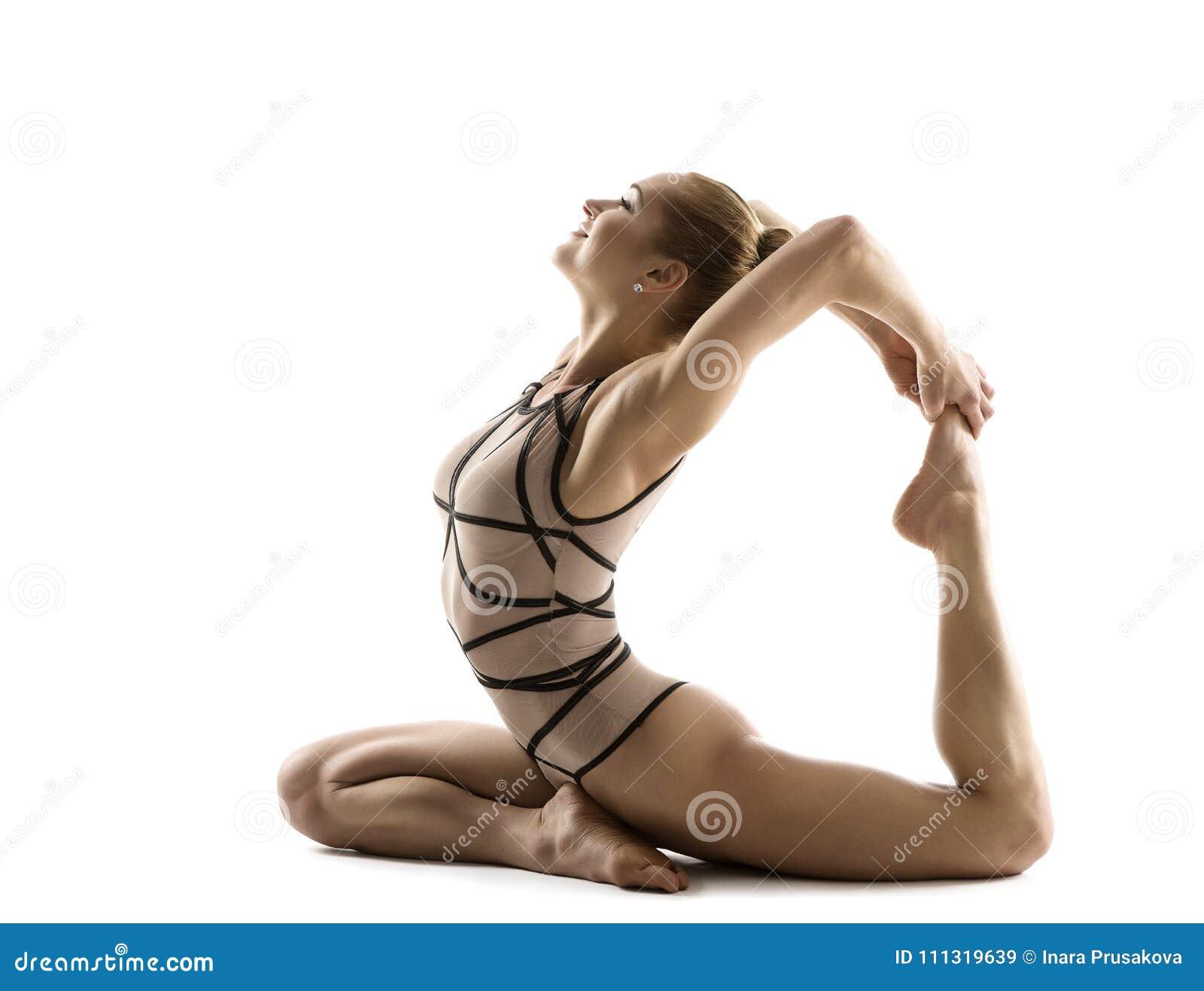 Gimnasia del Backbend de la yoga, ejercicio flexible de la aptitud del cuerpo de la mujer
