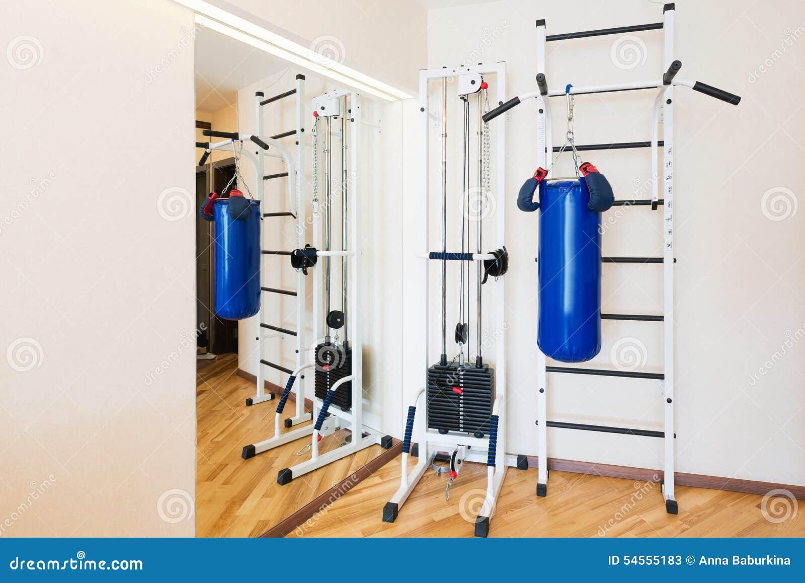 Gimnasio privado en casa imagen de archivo imagen de for Para gimnasio