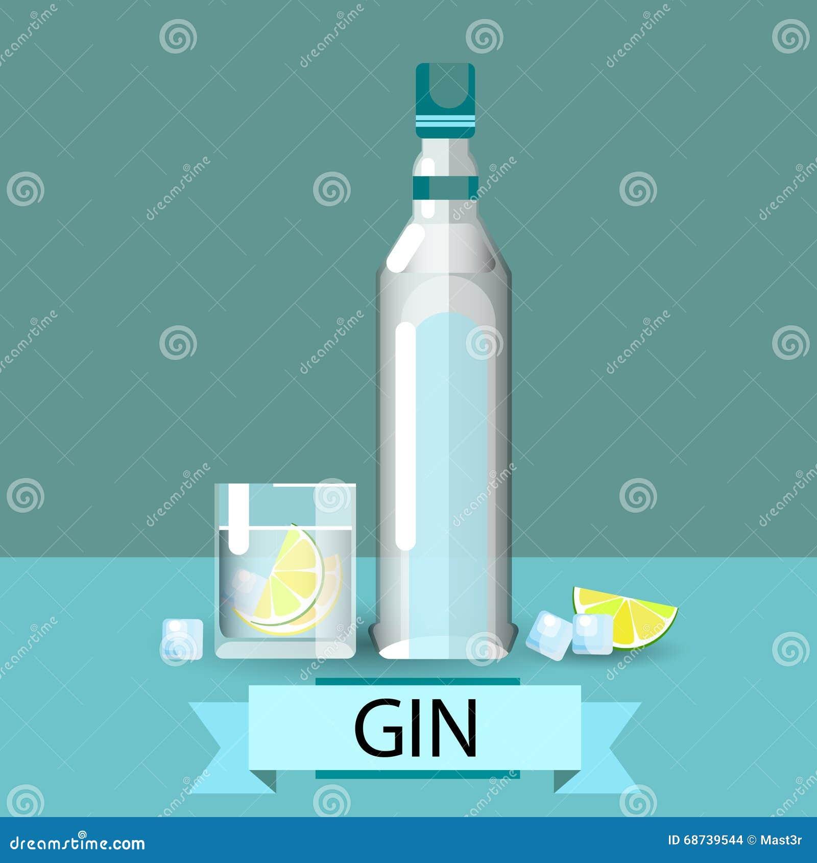 Gin Bottle Glass Lemon Alcohol-Getränk-Ikone flach