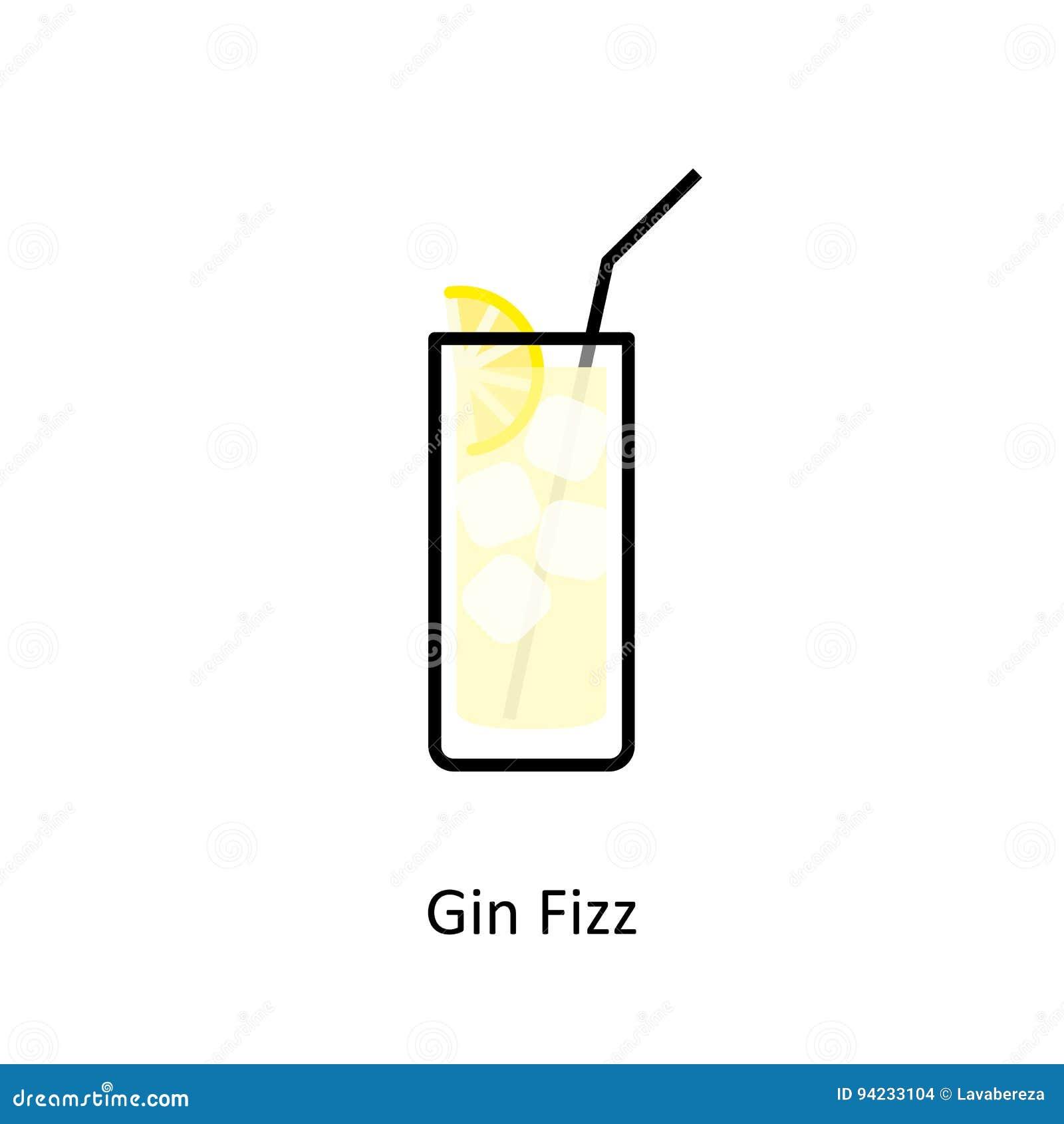 Gin Fizz-cocktailpictogram in vlakke stijl